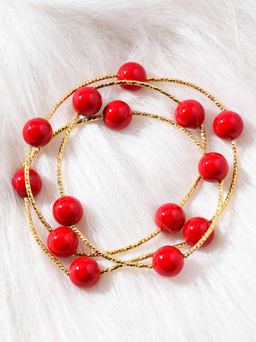 Girlhood Alloy With Gold Plated Casual red Ball Bracelets