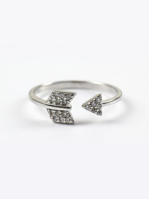 Arya Personalized Arrow Cubic Zirconias Silver Opening Ring