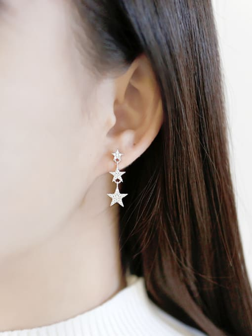 Arya Fashion Tiny Zircon-studded Stars Silver Stud Earrings