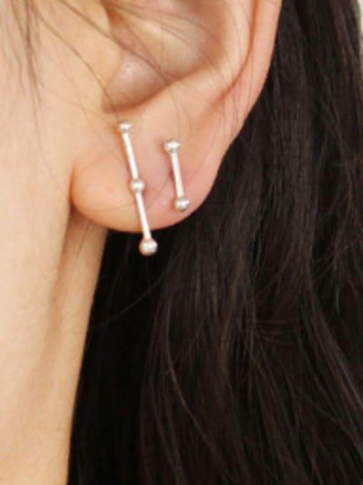 Arya Simple Asymmetrical Tiny Beads Silver Stud Earrings