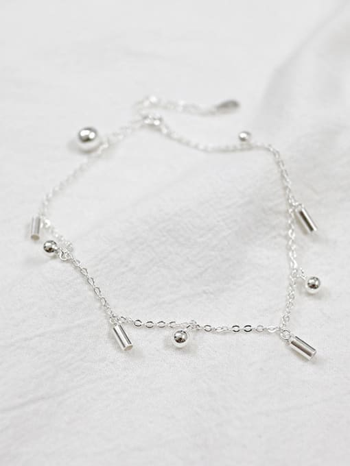 Arya Simple Little Beads Silver Women Anklet