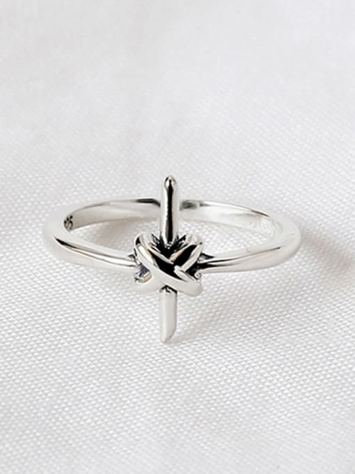Arya Personalized Little Cross Knot Silver Opening Ring