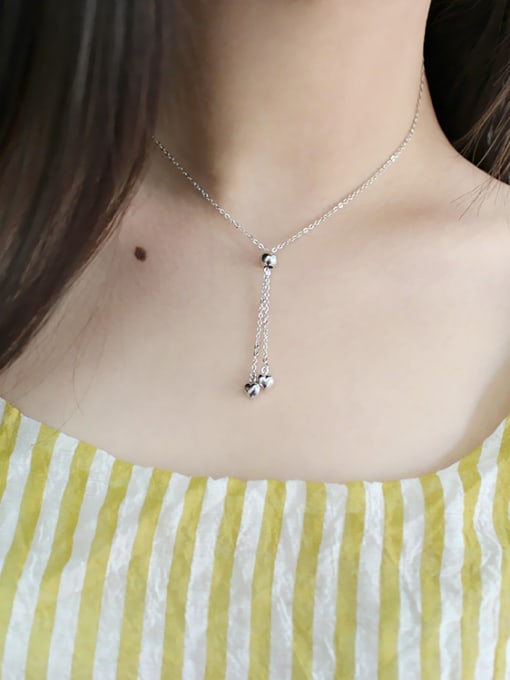 Arya Personalized Little Hearts Silver Adjustable Necklace