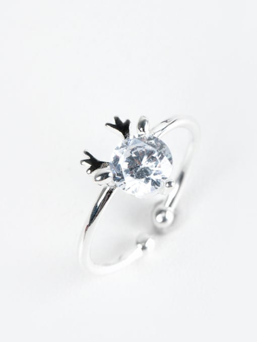 Christian Fashion Cubic Zircon Little Deer Antler 925 Silver Opening Ring