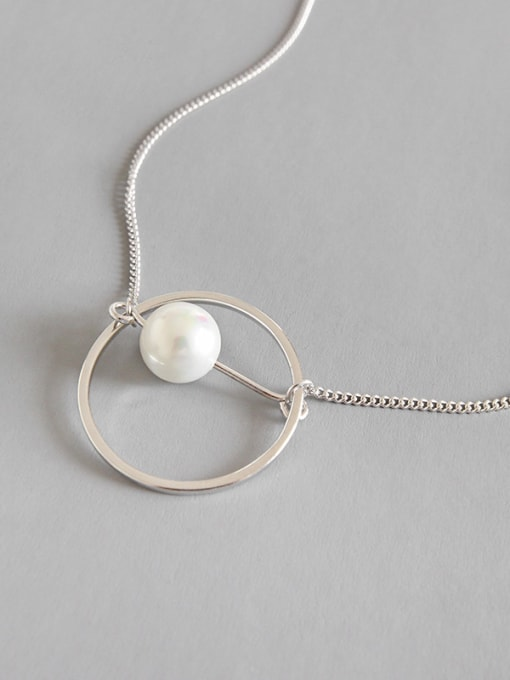 Arya 925 Sterling Silver With Platinum Plated Fashion  Imitation Pearl Necklaces
