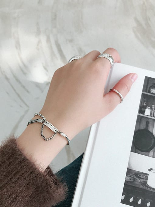 Dark Phoenix Thai Silver With Antique Silver Plated Vintage Irregular Bracelets