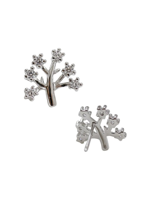 Arya Fashion Little Tree Cubic Tiny Zirconias Silver Stud Earrings