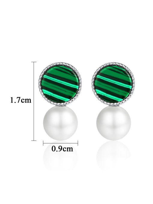 CCUI 925 Sterling Silver With  Artificial Pearl Fashion Round Stud Earrings