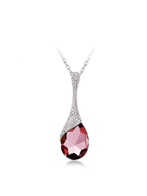 OUXI Fashion Water Drop Austria Crystal Necklace