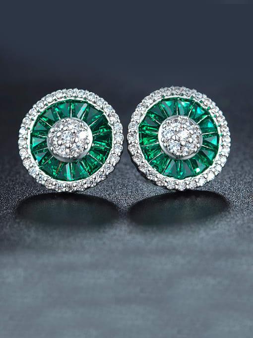 Chris Women Green Zircon Cluster earring