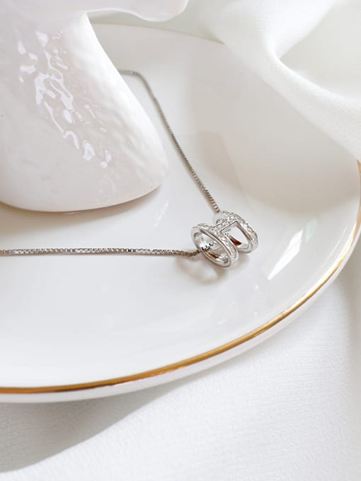 Ying 925 Sterling Silver With Platinum Plated Personality Monogrammed Necklaces