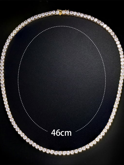 """Armadani Copper inlay 4mm AAA zircon 18"""" four-prong necklace"""