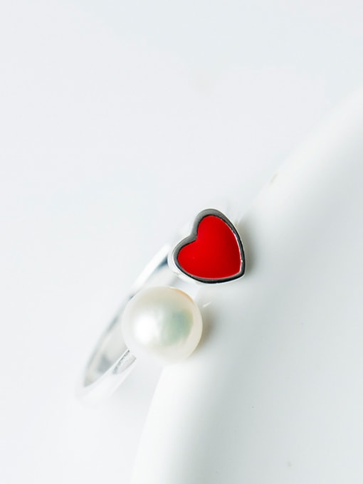Christian Fashion Red Heart Artificial Pearl Opening 925 Silver Ring