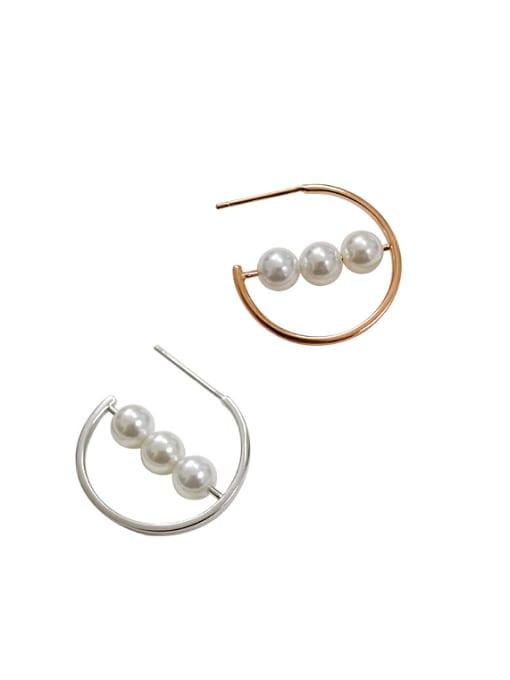Arya Simple White Artificial Pearls Silver Stud Earrings