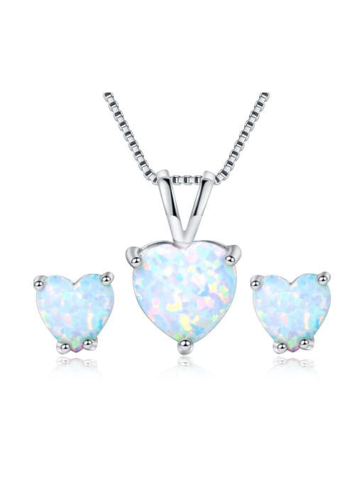 Armadani Heart-shaped White-Opal platinum-plated necklace earrings 2 sets