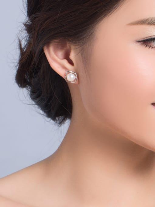 Evita Peroni Freshwater Pearl Hollow Flower stud Earring