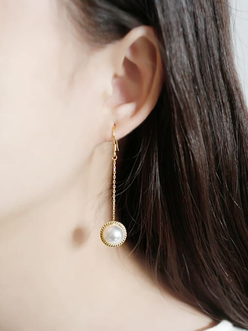 Arya Fashion White Artificial Pearl Gold Plated Silver Drop Earring