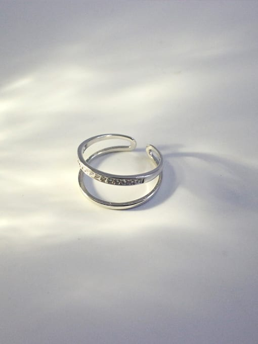 Ying 925 Sterling Silver With Platinum Plated Personality Double Line Free Size Rings
