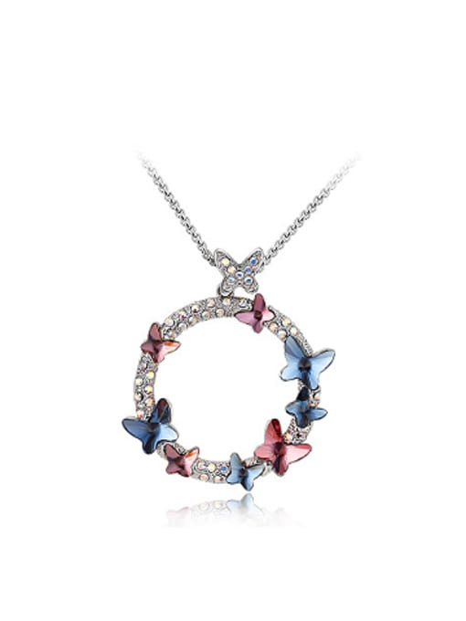 OUXI Austria Crystals Butterfly Round Necklace