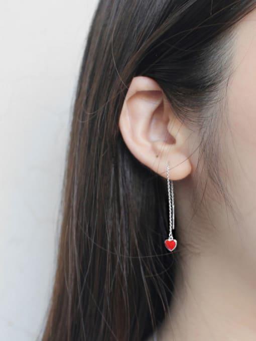 Arya Simple Little Red Heart Silver Line Earrings