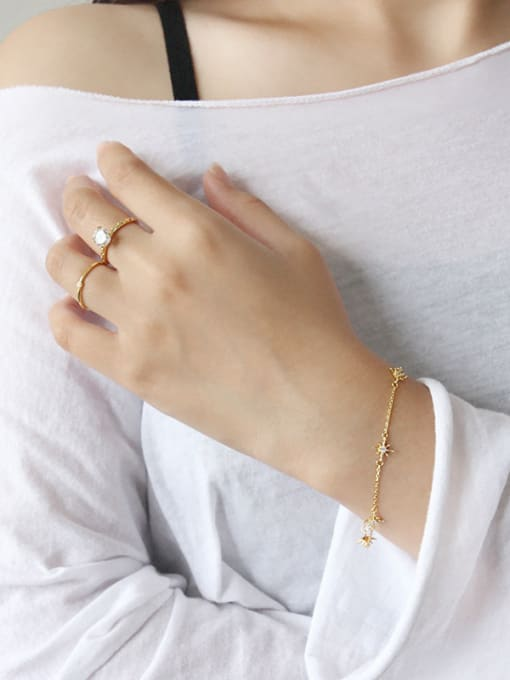 Arya 925 Sterling Silver With 18k Gold Plated Fashion Flower Bracelets