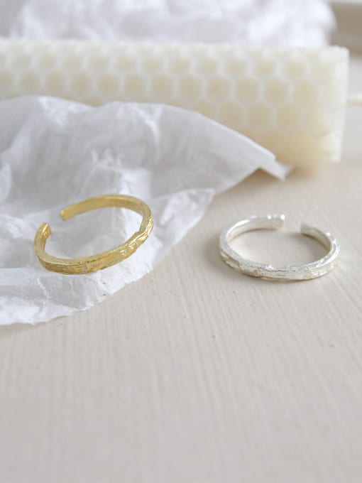 Ying 925 Sterling Silver With 18k Gold Plated Personality Irregular surface Free Size Rings