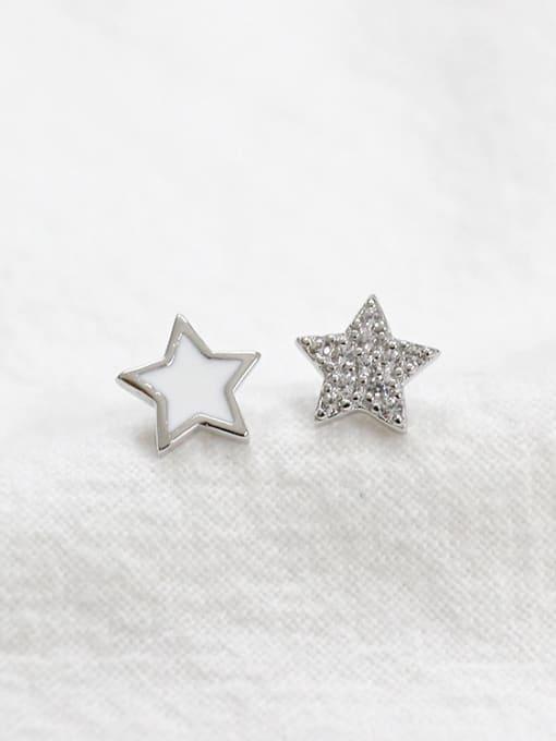 Arya Simple Little Star Tiny Zirconias Black Glue Silver Stud Earrings