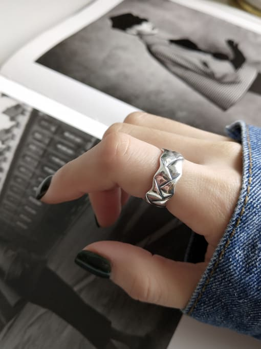 Jolie Silver 925 Sterling Silver With Antique Silver Plated Vintage Geometric Coat Of Arms Rings