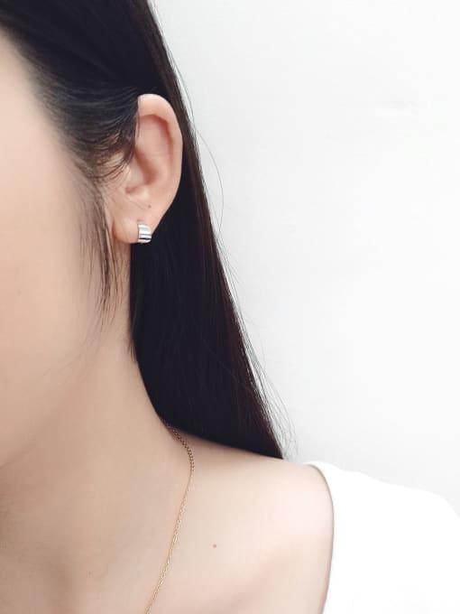 Arya Sterling Silver personality minimalist geometric Mini Curve ear studs