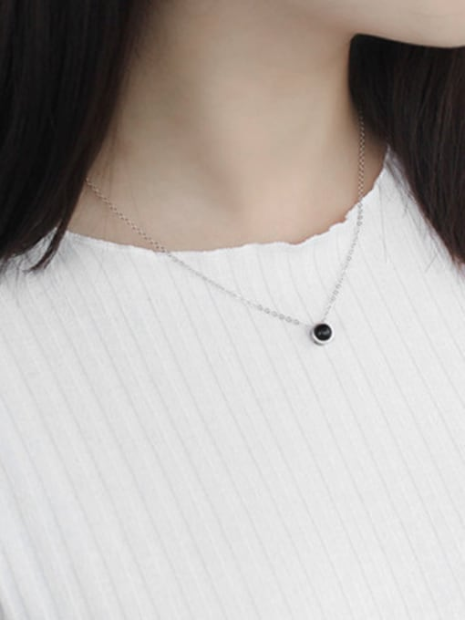 Arya Simple Little Black Round Carnelian stone Silver Necklace