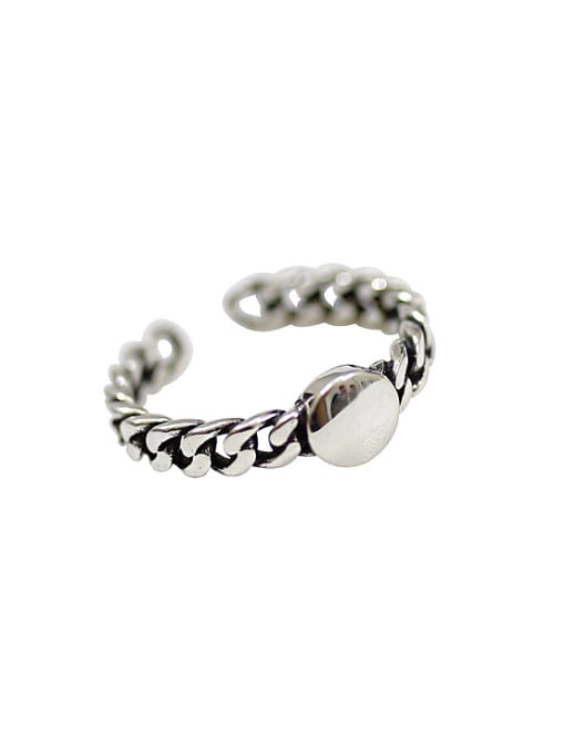 Arya Retro style Chain Band Silver Opening Ring