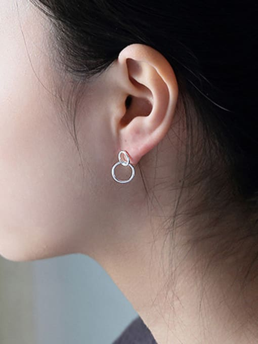 Arya Simple Double Ring Silver Stud Earrings