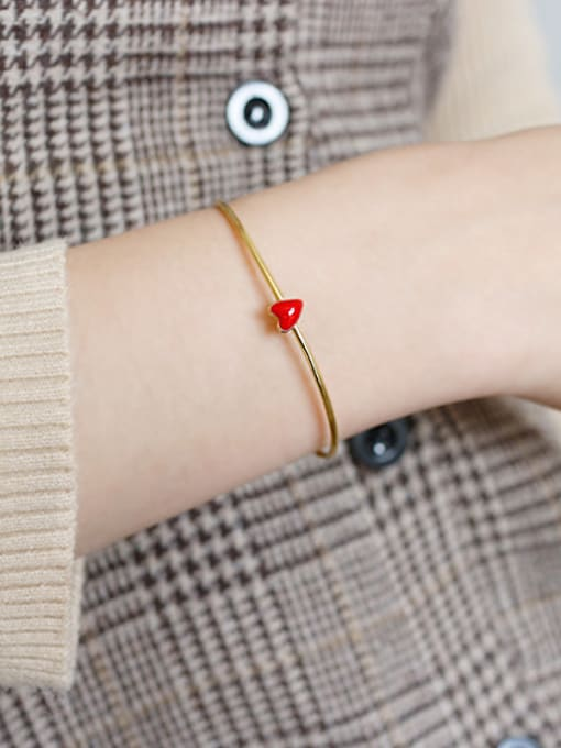 Arya Pure silver Fashion Red Epoxy Love Gold Plated Bracelet