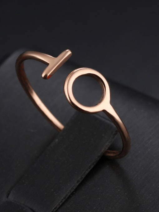 Tong Stainless Steel With Rose Gold Plated Simplistic Geometric Band Rings