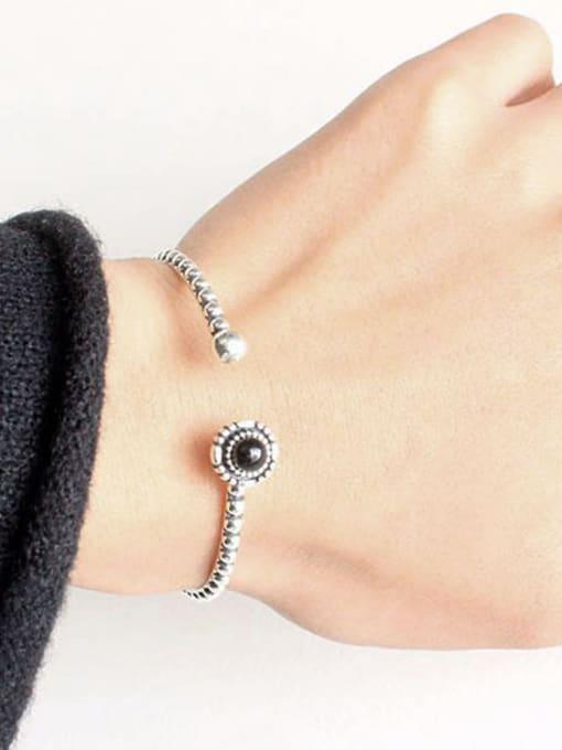 Arya Personalized Black Carnelian stone Silver Opening Bangle