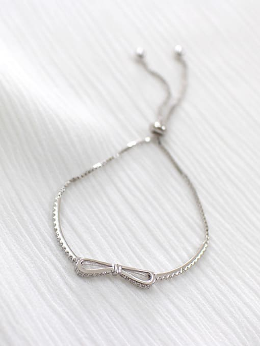 Arya Fashion Little Bowknot Cubic Zirconias Silver Adjustable Bracelet