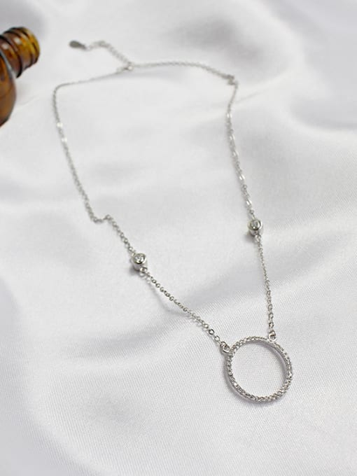 Arya Simple Hollow Round Tiny Cubic Zirconias Silver Necklace