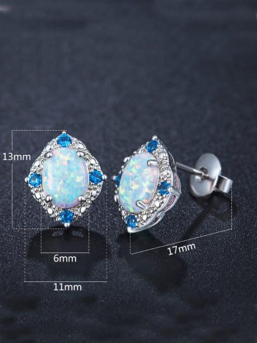 Chris Opal Stone Zircon stud Earring