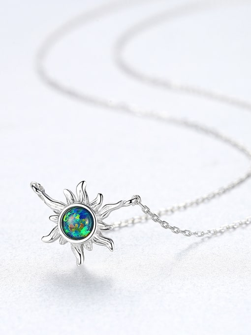 CCUI 925 Sterling Silver With Opal Cute  Sun Necklaces