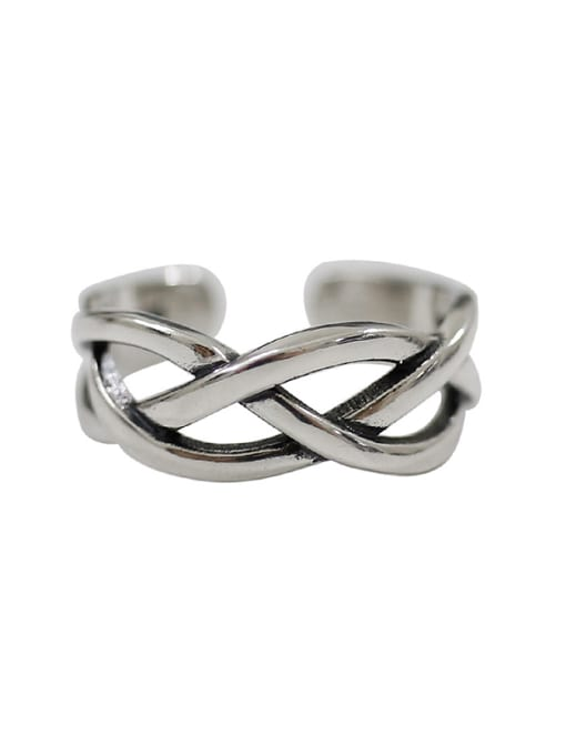 Arya Retro style Hollow Woven Silver Opening Ring