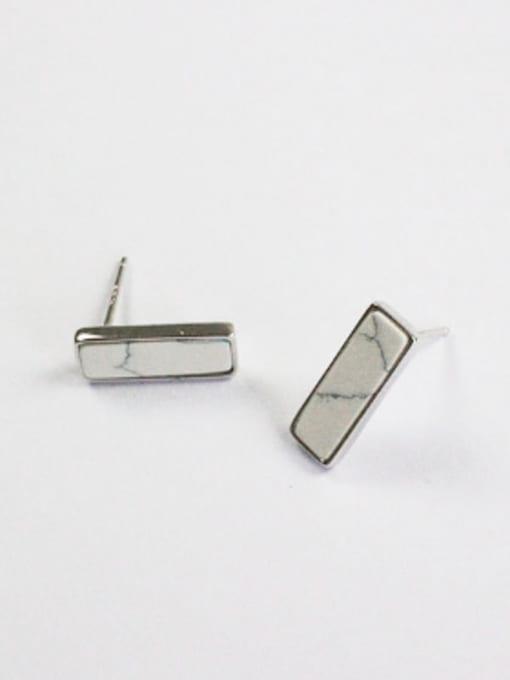 Arya Simple Rectangular Stones Silver Stud Earrings