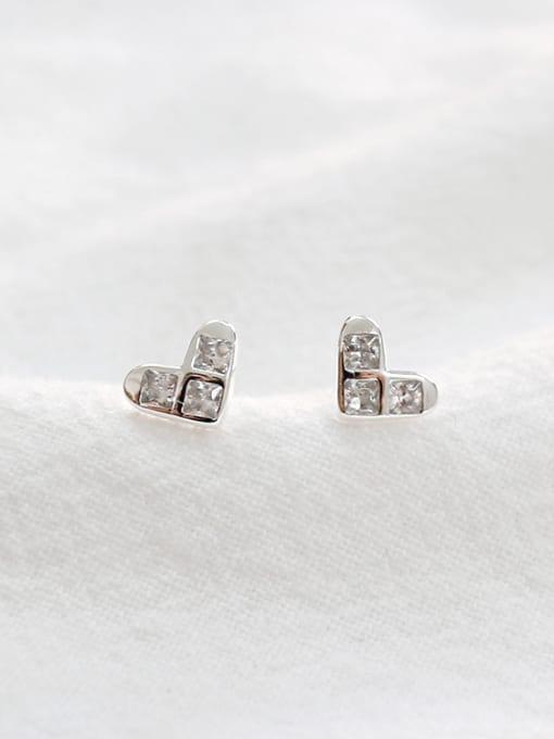 Arya Tiny Heart Cubic Zircon Silver Stud Earrings