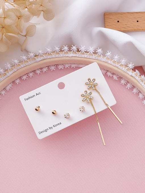 Girlhood Alloy With Gold Plated Trendy Flower Geometry Mini 6-piece earrings
