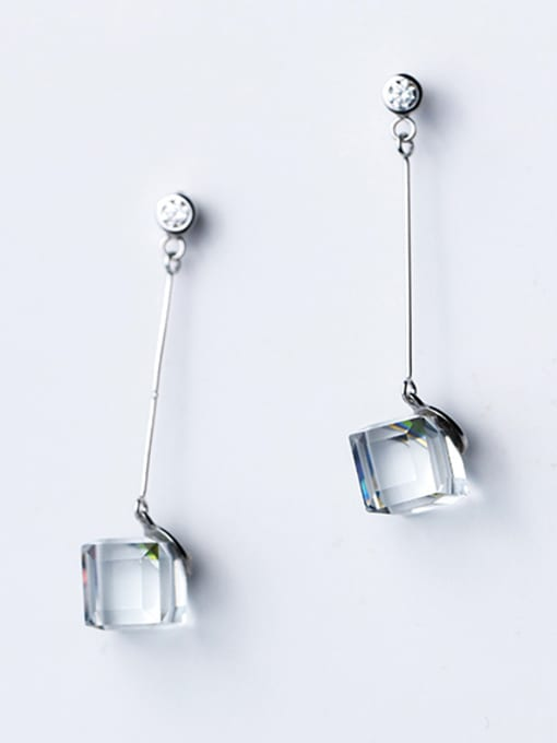 Rosh Temperament Square Shaped Crystal S925 Silver Drop Earrings