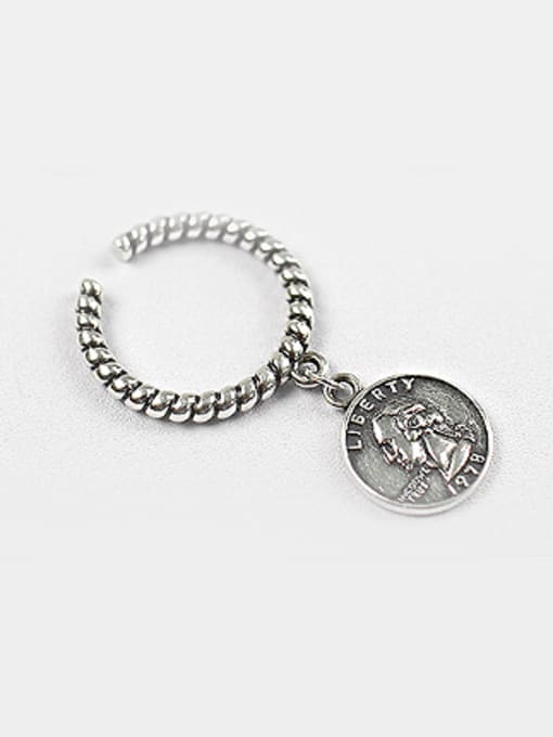 Arya Personalized Dollar Coin Silver Opening Ring