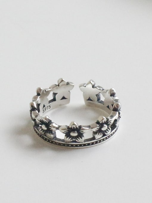 Arya Retro style Little Flowers Silver Opening Ring