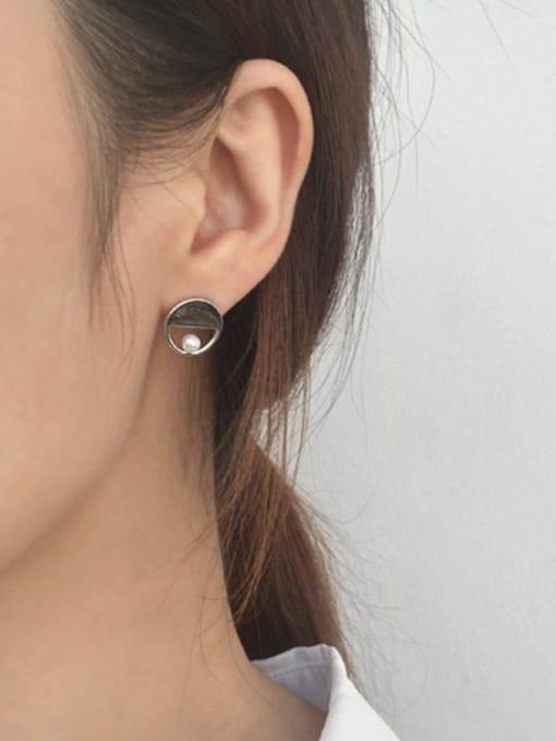 Arya Fashion Little Artificial Pearl Silver Slim Bar Drop Earrings