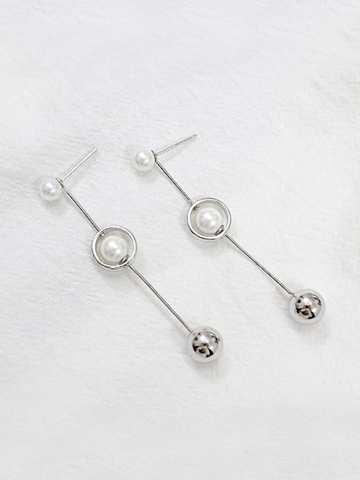 Arya Fashion Artificial Pearls Smooth Bead Silver Stud Earrings