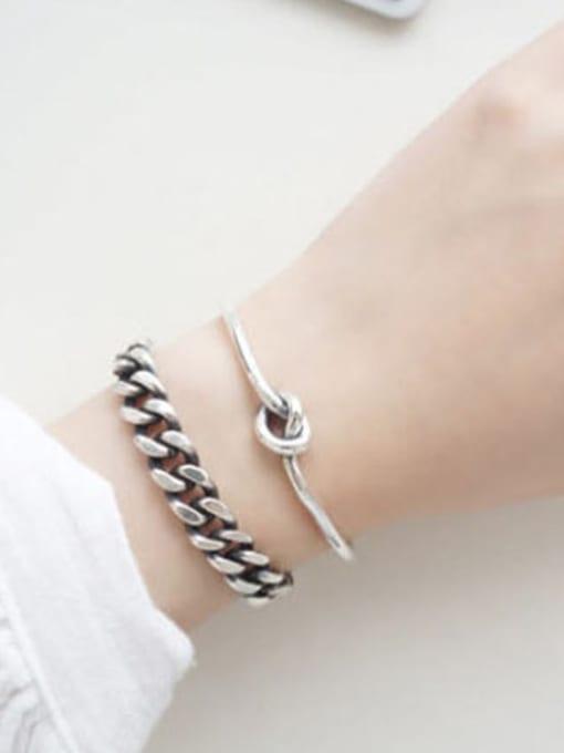Dark Phoenix Simple silver and antique silver single rope Bangle Bracelet