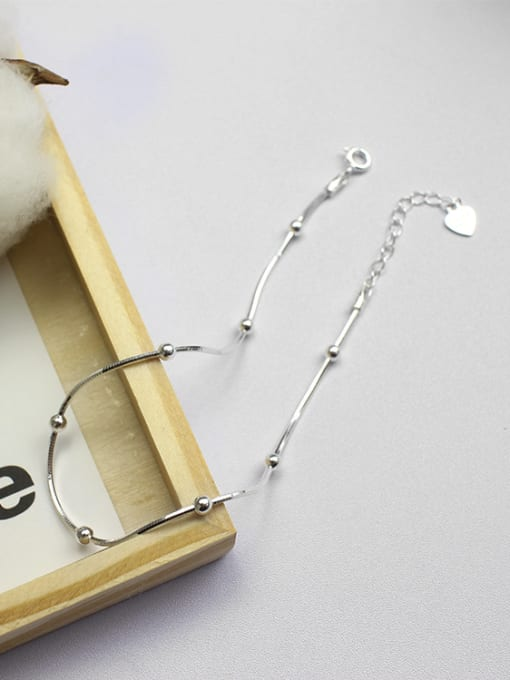 Arya Simple Tiny Beads Silver Women Anklet